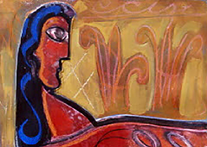 Woman with Harvest Symbols