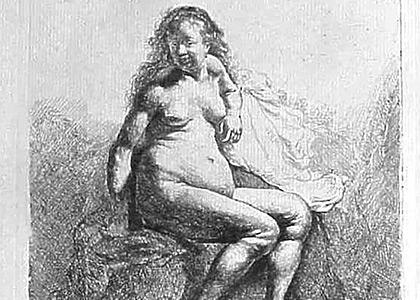 La Femme nue Assise sur une Butte