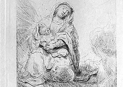 La Vierge et Lednfant Jesus sur les Nuages